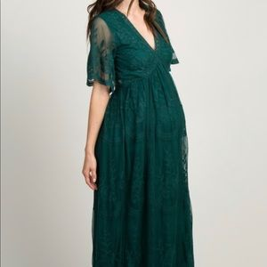 Pinkblush Maternity Lace Maxi in Forest Green